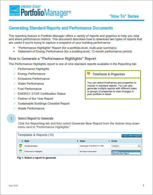 "Screenshot of the first page of the guide, ""How to generate standard reports and performance documents"""