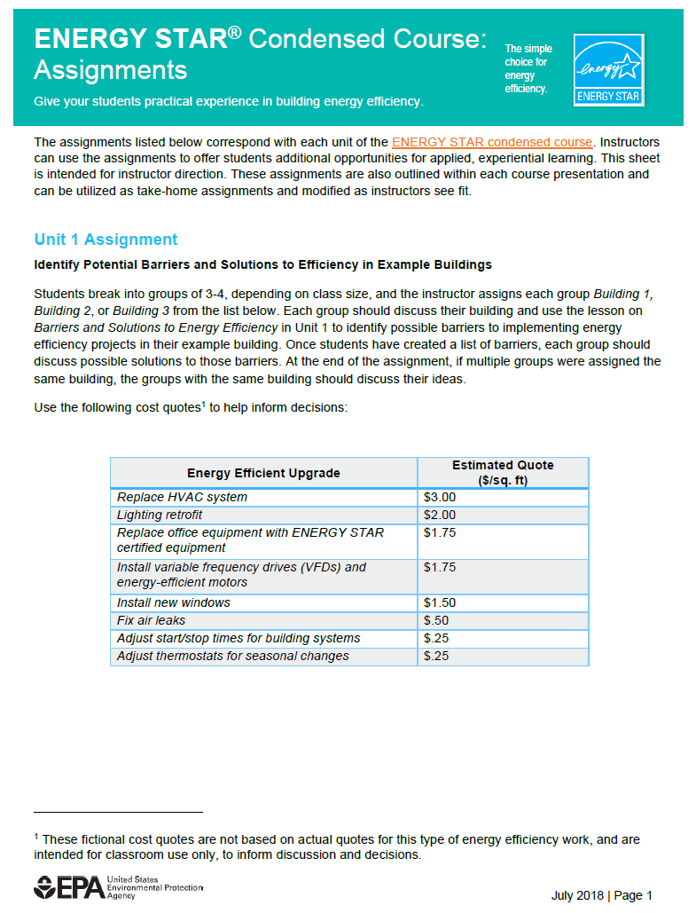ENERGY STAR Commercial Buildings College Course Student Assignments
