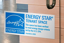 Tenant Space decal on a glass office door