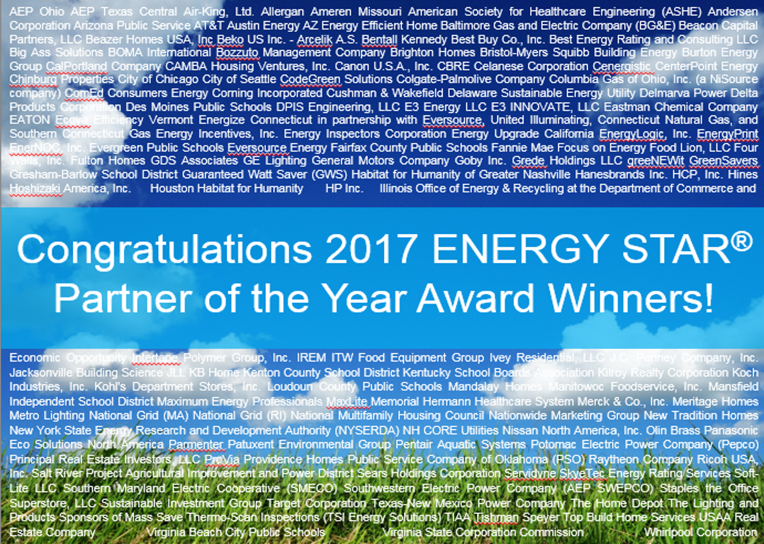 Title slide with all ENERGY STAR Award winners listed.