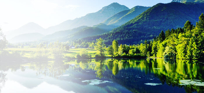 Nature Landscape - lake, forest and mountains