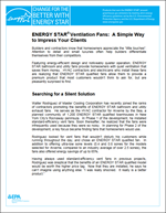 screenshot of the Vent Fan Fact Sheet and Case Study for Contractors
