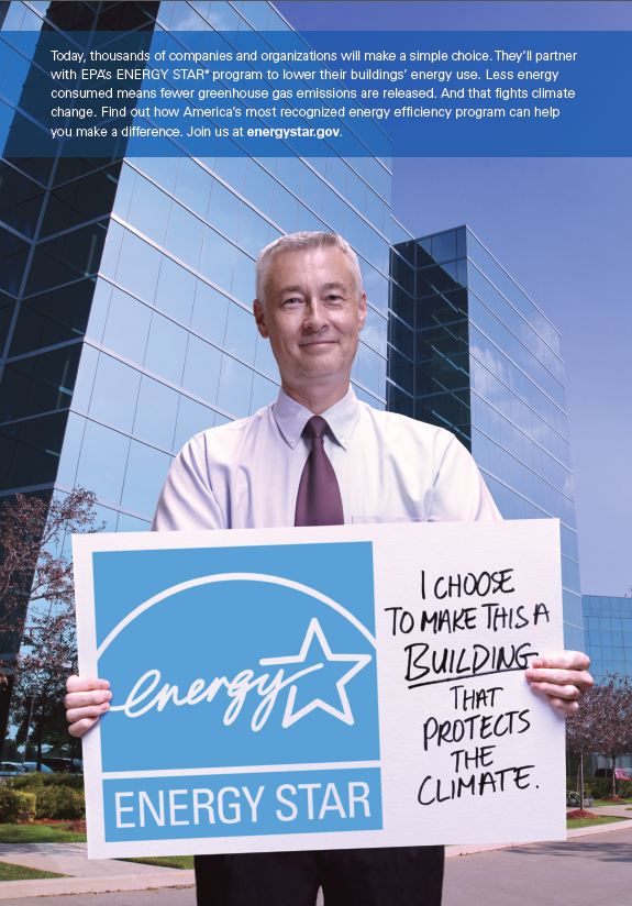 2015 ENERGY STAR Buildings PSA with a man holding a sign in front of a building