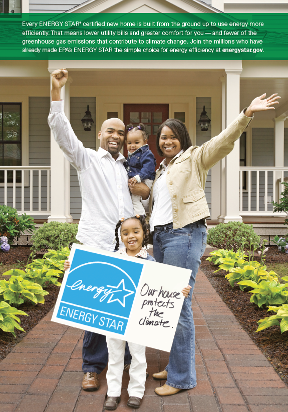 2015 ENERGY STAR Homes PSA with a family holding a sign in front of their home