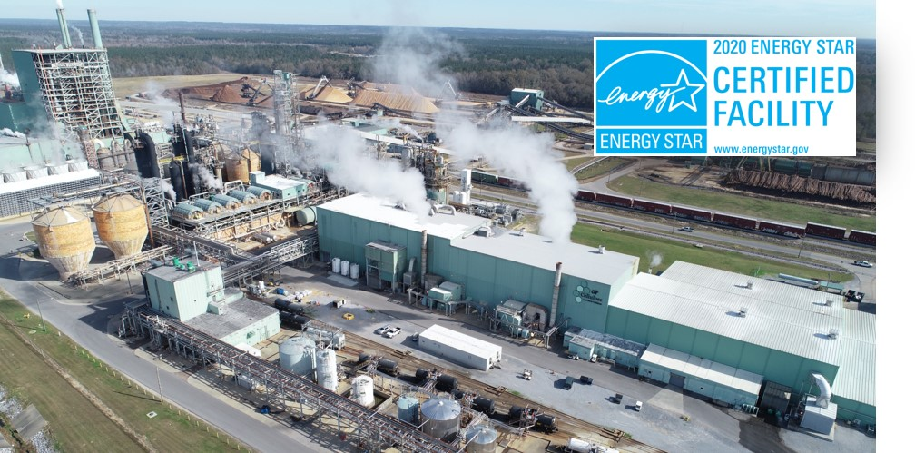 Birds eye view of Georgia Pacific Leaf River plant with 2020 ENERGY STAR Certification Mark