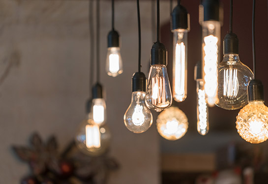 String of vintage LED light bulbs hung from the ceiling.