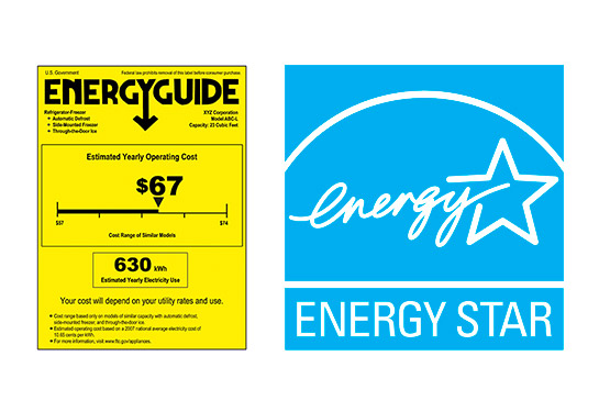 The EnergyGuide label and the ENERGY STAR label.