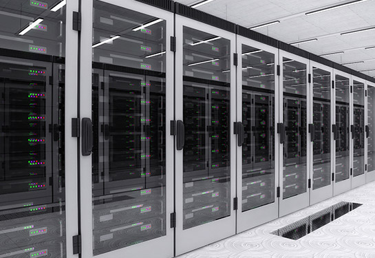 A row of enclosed servers in a data center.