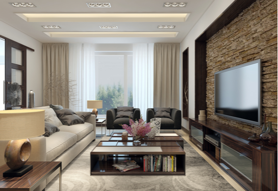 Nice living room with recessed light fixtures.
