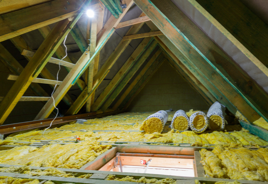 View of attic with open hatch and insulation covering floor.
