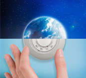 image of the earth and image of a hand adjusting a thermostat