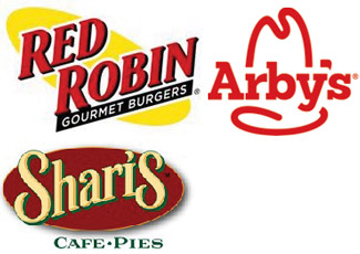 logos for Red Robin and Shari's Cafe & Pies