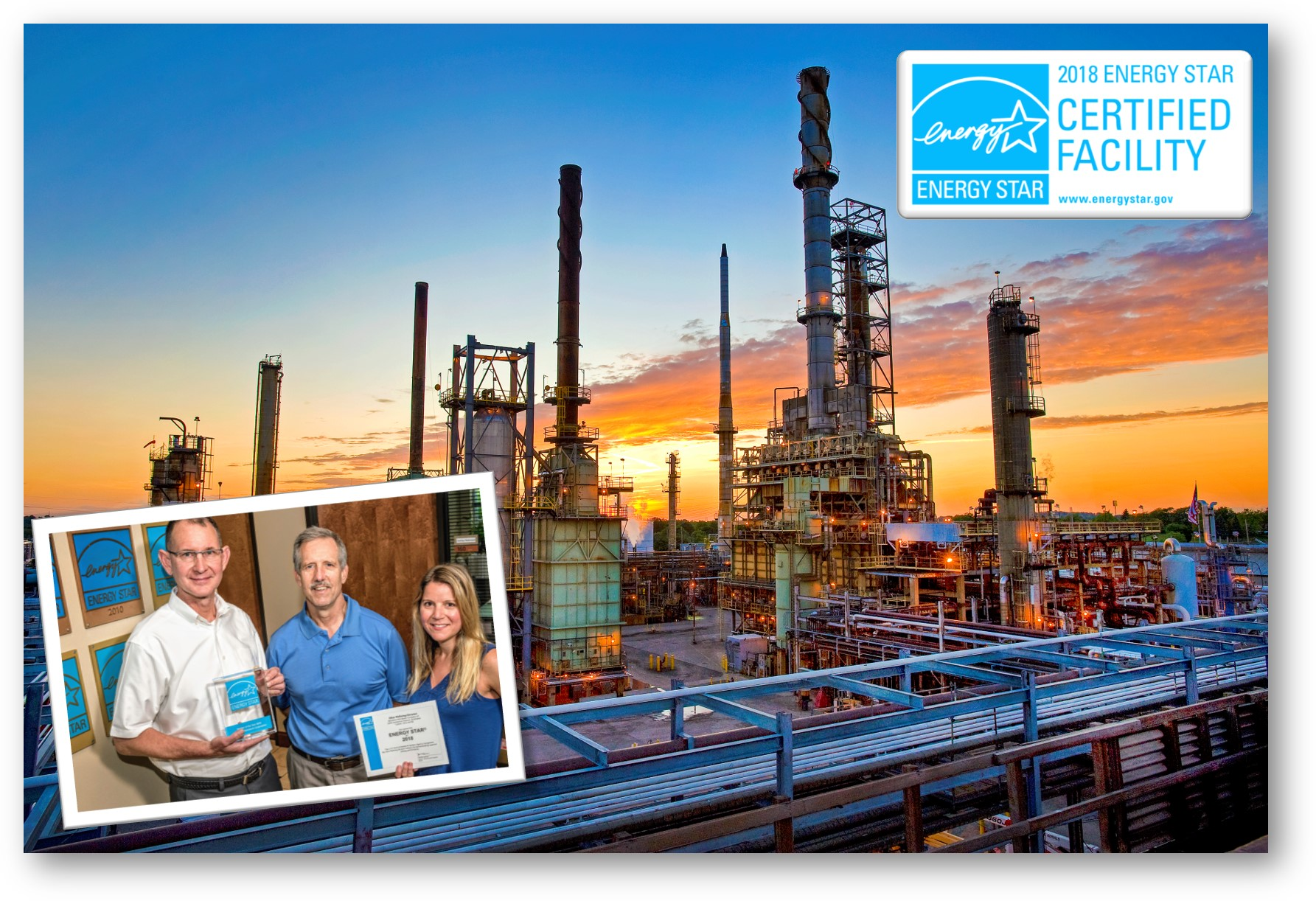 Photo of Canton refinery and refinery staff with ENERGY STAR certificate for 2018