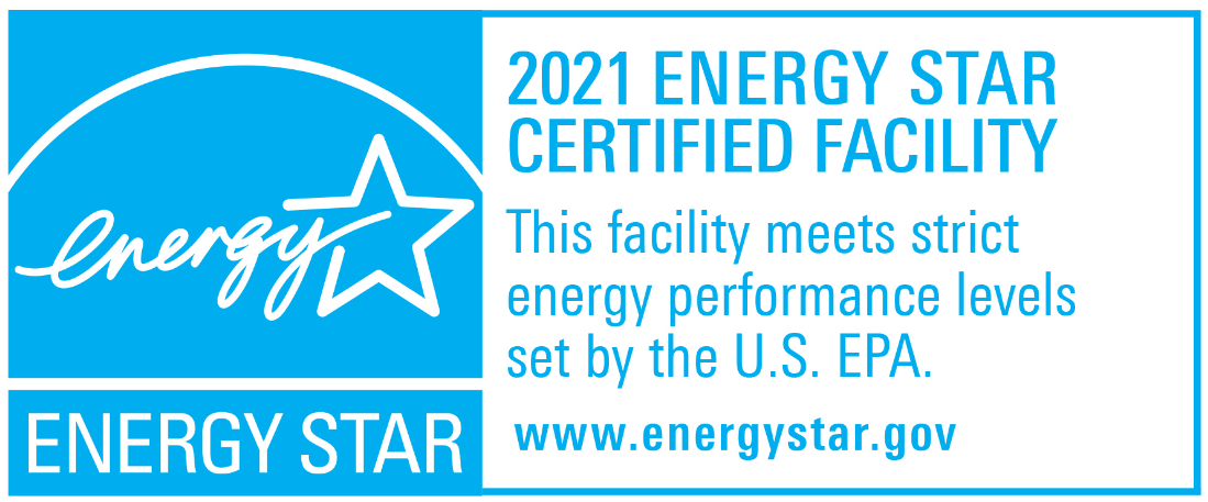 2021 ENERGY STAR Certified Facility, This facility meets strict energy performance levels set by EPA