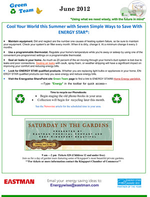 Eastman Chemical Company's monthly Green Team newsletter