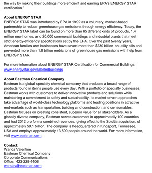 image of Eastman Chemical Company press release page 2