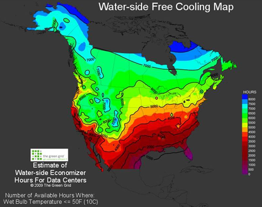 Figure 15: Hours of ideal water-side economizer conditions in the United States. (Courtesy of DOE and The Green Grid)