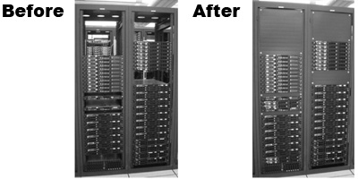 Figure 8: A server rack shown prior to and after the installation of blanking panels.