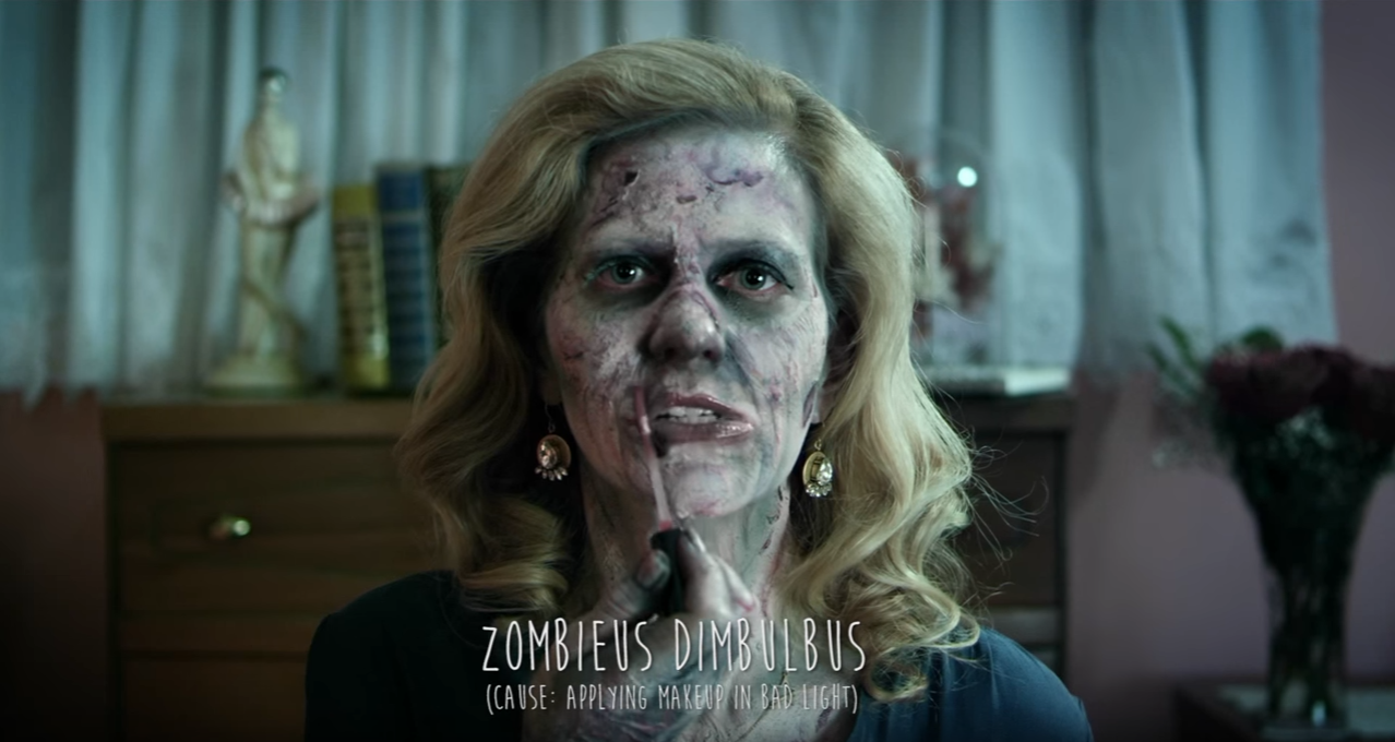 zombie putting on lipstick