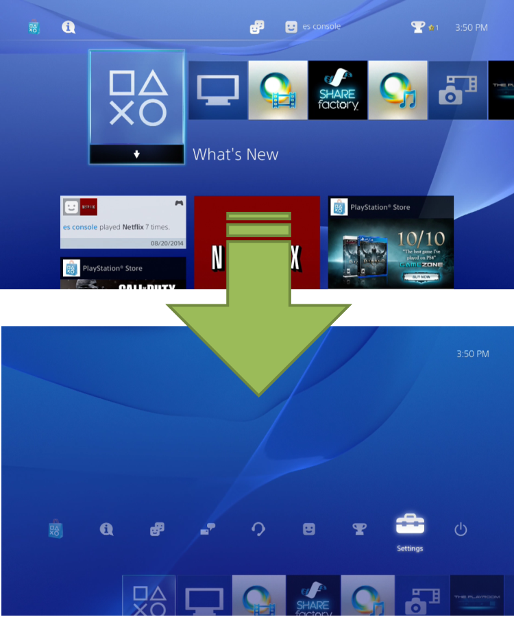 PS4 Home Screen Setting Arrow