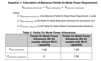 Partial On Mode Power Allowance