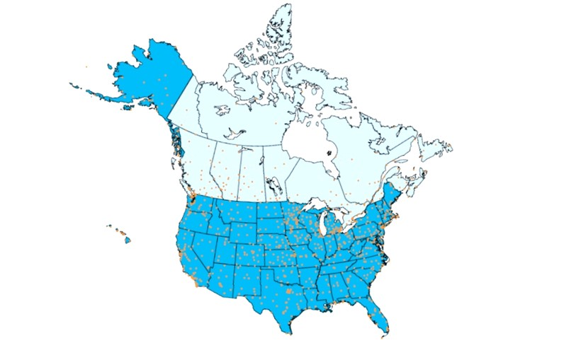 Map of weather stations in the US and Canada.