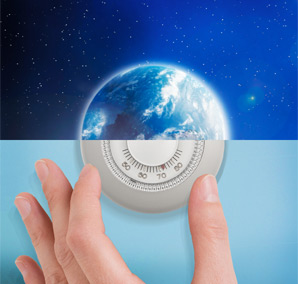 image of the earth & image of a hand adjusting a thermostat