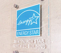 Acrylic plaque for buildings, cyan & white