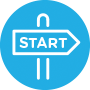 "Graphic of posted sign reading ""Start"""