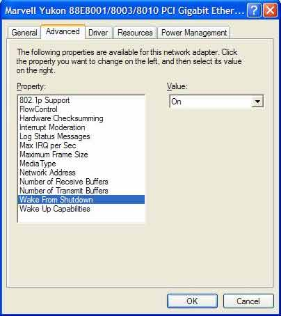 Wake-on-LAN Marvell Yukon network adapter settings