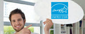 Man holding up an ENERGY STAR logo
