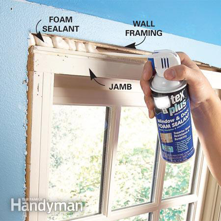 Sealing behind window trim with low or no expanding foam sealant