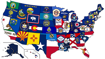 image of U.S. map with state flags used to represent each state