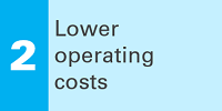 2 Lower operating costs