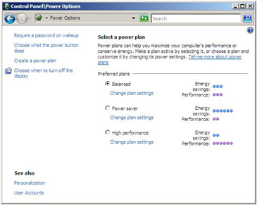Manually activating power management in Windows Vista Image 4