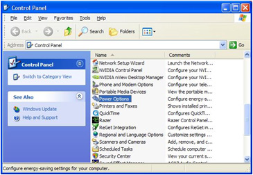 View of a PC Control Panel - Manually activating power management in Windows XP Image 3