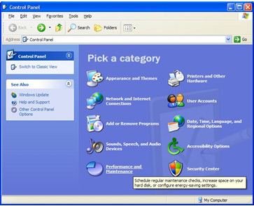 View of a PC Control Panel - Manually activating power management in Windows XP Image 1