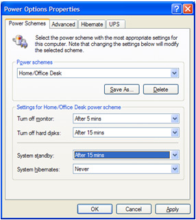 View of a PC Control Panel - Manually activating power management in Windows XP Image 4