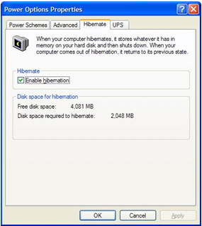View of a PC Control Panel - Manually activating power management in Windows XP Image 5