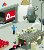 Illustration of manufacturing floor with energy-saving opportunities marked with stars