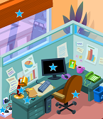 Illustrated office workspace with energy-saving opportunities marked by stars