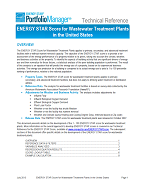 "Screenshot of the first page of the technical guidance, ""ENERGY STAR score for wastewater treatment plants"""