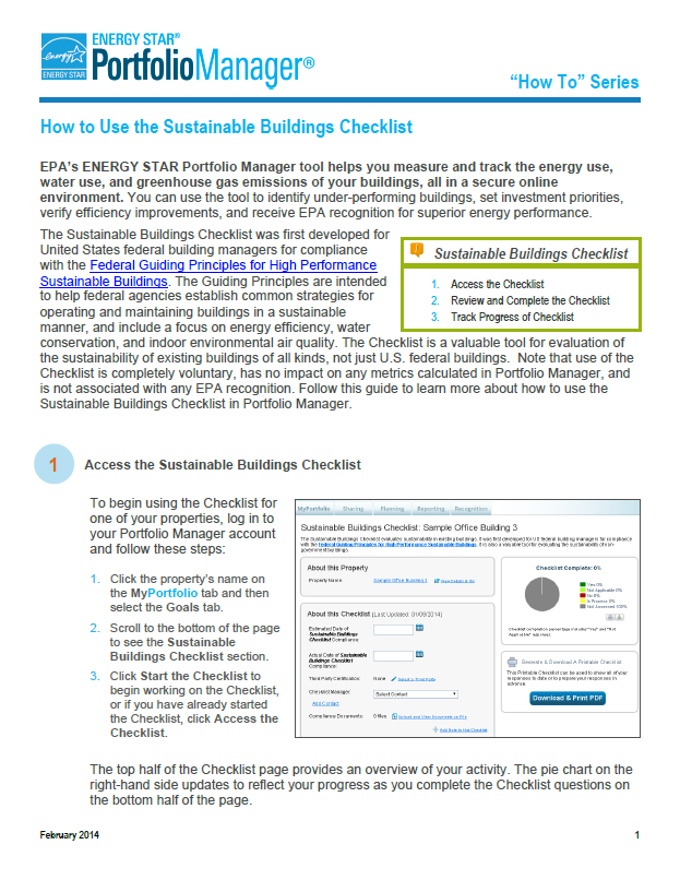 First page of Sustainable Buildings Checklist