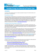 "Screenshot of the first page of ""Portfolio Manager Technical Reference: Canadian National Energy Use Intensity"""