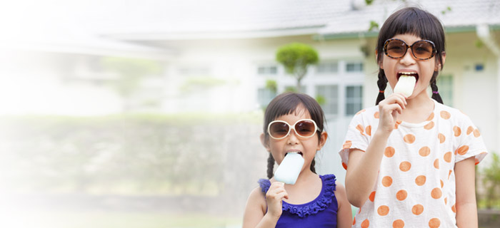 Kids enjoying popsicles