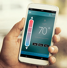 smart phone showing thermostat app