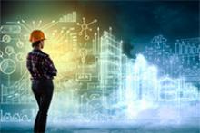 Illustrative photo showing a person in a hardhat pondering engineering drawings and data