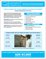 screenshot of the Commercial Refrigerators and Freezers Factsheet