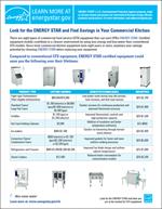 screenshot of the Commercial Kitchen Equipment Lifetime Savings Factsheet