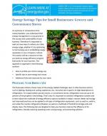 First page of Energy Savings Tips for Small Businesses: Grocery and Convenience Stores.